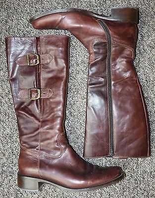Womens dark brown leather knee length buckled boots by Gabor size 7
