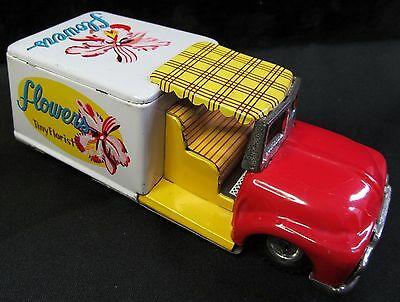 1950's Friction Tin Litho Tiny Florist Flower Truck made in Japan Very Very Nice