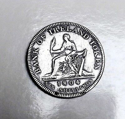 George 111 Bank Of Ireland 1804 Silver Six Shilling Very Nice Rare Coin