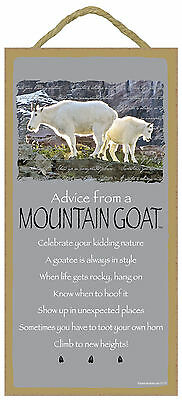 Advice from a Mountain Goat Inspirational Wood Animal Sign Plaque Made in USA