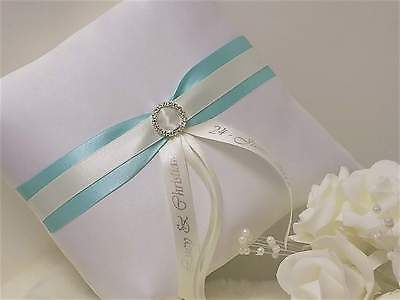 PERSONALISED WEDDING RING CUSHION. Diamante Buckle. White/Ivory & 8 trim colours
