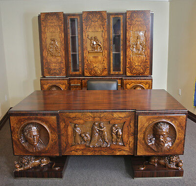 Spectacular Custom Made Antique Art Deco Italian 5 piece Desk Office Set