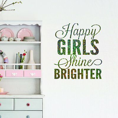 Sparkly Happy Girls Quote Wall Sticker Vinyl Decal Mural Girls Bedroom