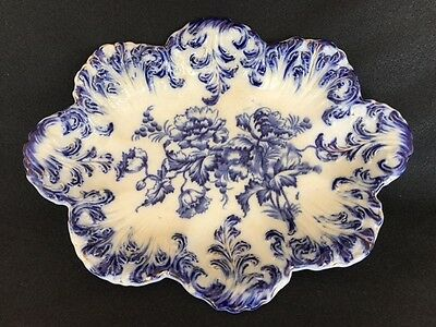 Antique Flow Blue Bowl with Gold Accents Excellent Condition Signed