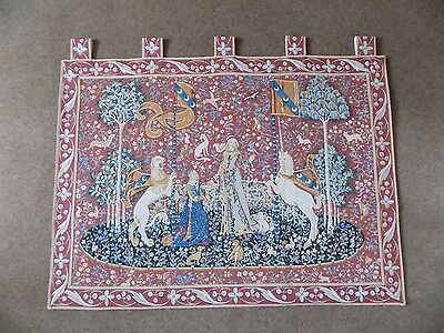 Tapestry of the lady and the unicorn from circa 1500 design.
