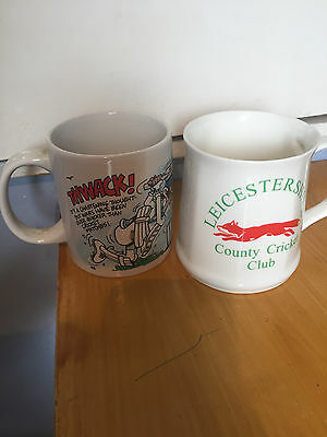 2 cricket ceramic cups  leicestershire t20 winners 2004 & 1994 mug