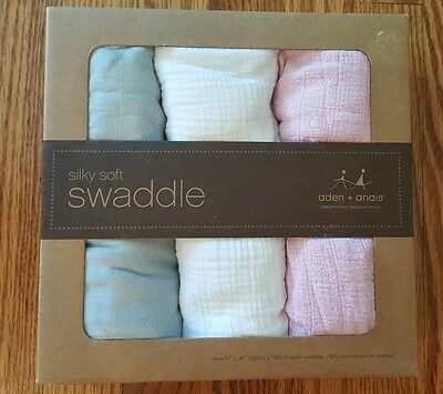 New Set.of.3 Aden and anais swaddle blankets (SILKY SOFT) . Grey Pink White.