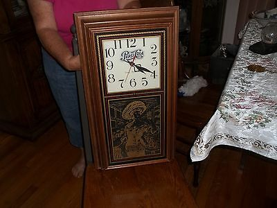 "Pepsi Cola Quartz Pendulum Clock Wood Cabinet 25"" Long x 14"" Wide"