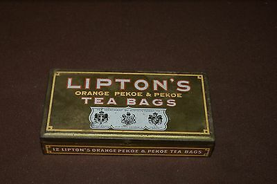 "Lipton Tea Tin Metal Box Vintage Orange Pekoe Teabags 6""x3 1/4""x1"" Advertising"