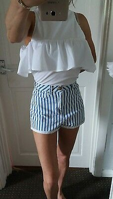 topshop high waisted shorts blue & white stripe size 8 ❤
