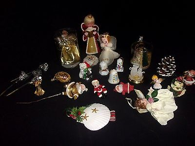 Lot of (25) Vintage Christmas Ornaments: Angels, Porcelain, Shell, Corsage, Bell