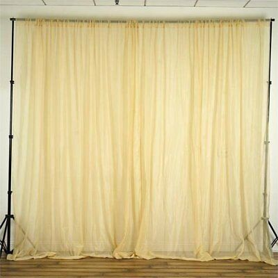 Champagne 10 x 10 ft Voile BACKDROP CURTAINS Wedding Home Party Decorations