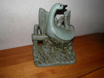 "Vintage Goose w Fence Cast Iron DoorStop Bookend Outdoor Decor Metal 7x8"" 3lbs.+"