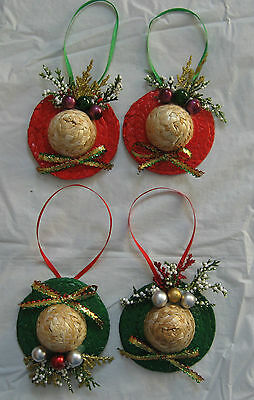 Christmas 4 straw hat ornaments - for tree or just a decoration