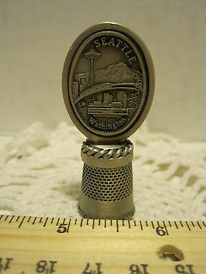 Seattle Washington Thimble Pewter hi relief Souvenir thimble