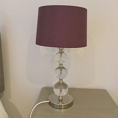 Laura Ashley Selby crystal glass and chrome table lamp with purple shade