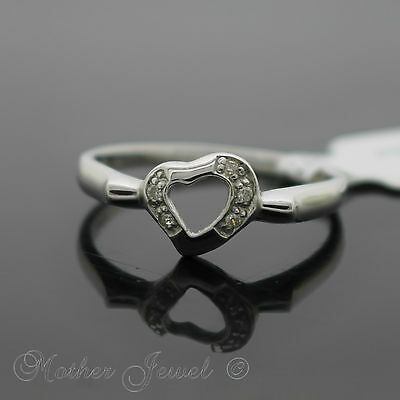 Genuine 925 Solid Sterling Silver Love Heart Simulated Diamond Band RING Size 6