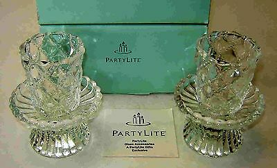 Pair Of Partylite Crystal Convertible Quilted Designcandle Holders - 4 Pc. Set