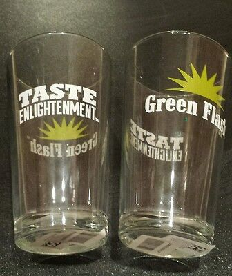 *NEW* NWT Pair of 2 Green Flash Brewing Company Beer glass Pint Glass