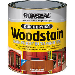 Ronseal Quick Drying Woodstain Gloss 250ml Antique Pine