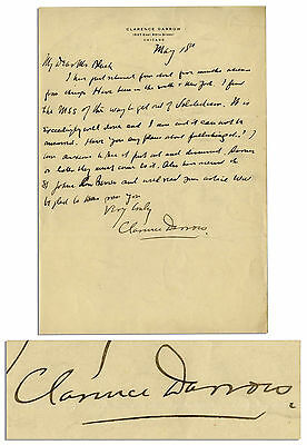 Clarence Darrow Autograph Letter Signed Re Prohibition