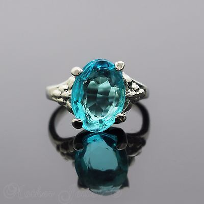 14Mm Turquoise Aqua Sterling Silver Sp Cocktail Dress Womens Ring Size 8 P