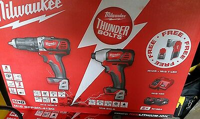 milwaukee  18v compact drill plus impact driver with 2x 4.0amp batterys