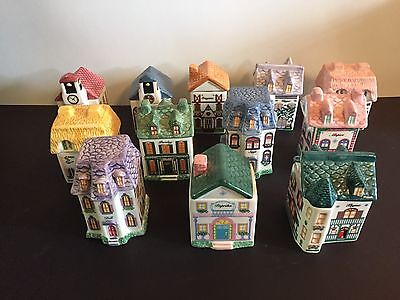 Lot of 12 - Avon Collectible Ceramic Spice Jars Miniature Houses