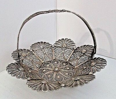 PORTUGUESE Sterling Silver Footed  833 Silver FILIGREE Basket w/Handle Miniature