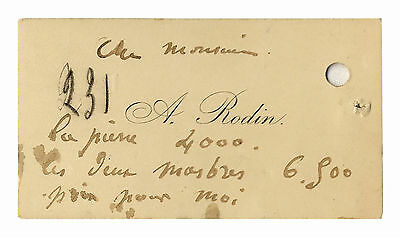 Auguste Rodin Calling Card With His Initialed Notes