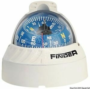 "FINDER Boat Marine Compass 2"" 5/8 White/Blue Surface Mount"