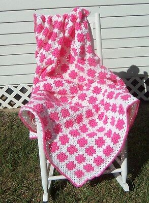 Handmade Crochet Afghan - 300 Granny Squares Pink / White - 54 X 70