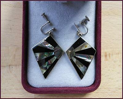 Vintage 1950's  Mexico Alpaca Silver Abalone Shell Screw Drop Earrings Signed