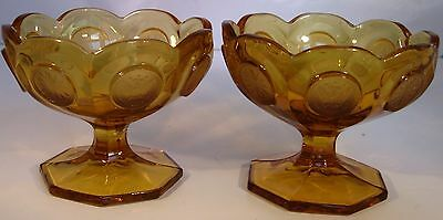 Vintage PAIR Fostoria Amber Coin Glass Footed Pedestal Bowl Candy