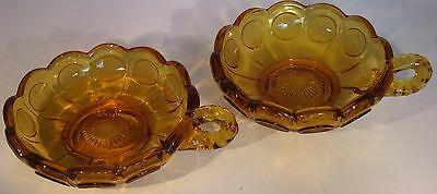 Vtg Fostoria Amber Nappy PAIR Dish Handle Etched 1886 American Eagle Torch