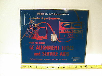 GC Electronics Model # 8391 Vintage sign advertising and service mirror