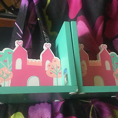 Pair of wooden princess castle bookends - great girls theme solid wood bookend