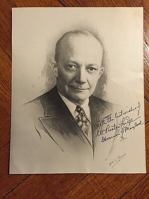Vintage 1940s Autograph Signed Drawing Photo Maryland Governor Preston Lane