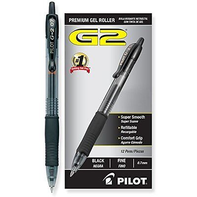 G2 Retractable Premium Gel Ink Roller Ball Pens, Fine Point, Black, 12-Pack