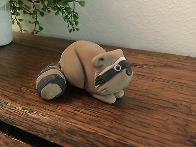 Small Clay Raccoon Figurine Hand Made