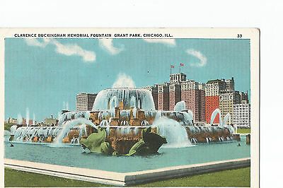 Vintage postcard Clarence Buckingham Memorial Fountain Chicago Illinois posted