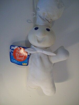"Pillsbury Dough Boy~10""~White Cloth~Blue Printed Detail~W/Tag~Tush Tag 1996~ZZ"