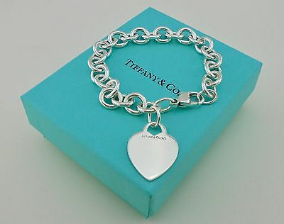 Genuine / Authentic Tiffany & Co. Heart Tag Silver Chain Bracelet - RARE