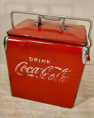 Vintage RARE Six Pack Sized Mini Coca Cola Coke 1950s Metal Cooler Chest - COOL!