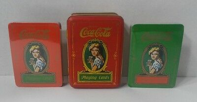 Vintage 1980 Coca Cola Playing Cards with Tin Box 2 Full set of Cards (Sealed)