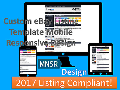 Custom eBay Listing Template Auction Mobile Responsive Design 2017 Compliant