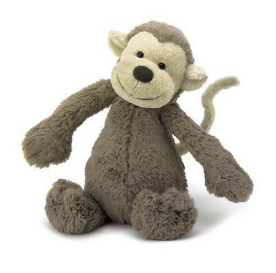 """Jellycat Bashful Monkey Small 7"""" New With Tags"""