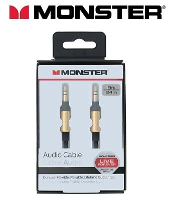 Monster® Aux Cable 3.5mm Stereo Mini Jack Audio Auxiliary Lead 2m CAR to iPhone*