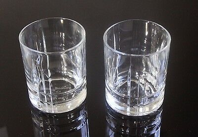 (2) CANADIAN CLUB Whisky Advertising Bar Glasses Embossed Bottom Rocks Glass