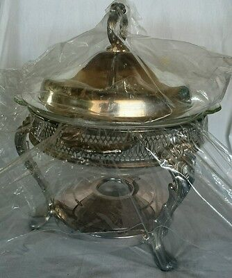 Vintage 3 Piece Silver Plated Serving Tray Holder Glass Trap & Lid Plastic Seal
